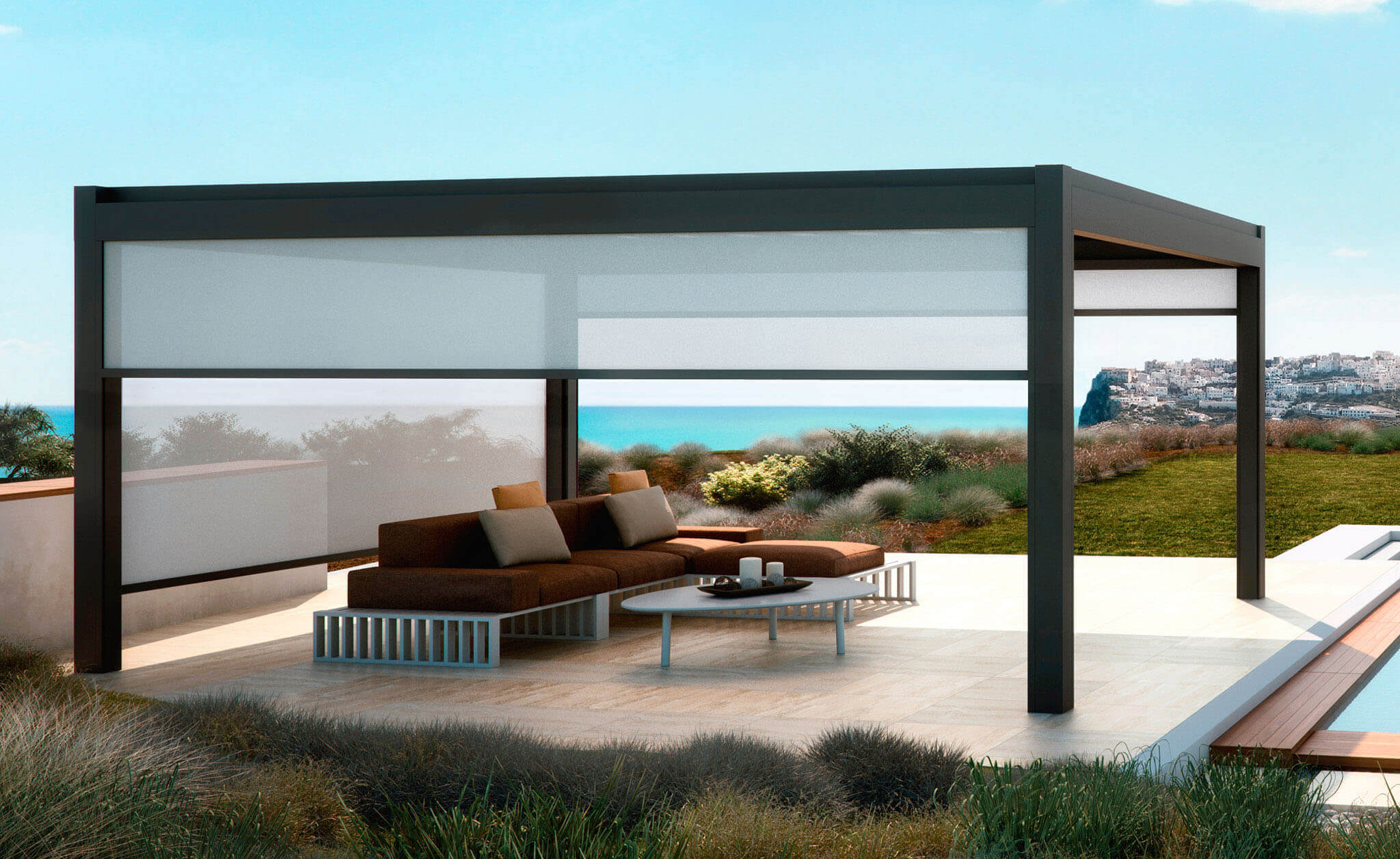 3D-Rendering einer Faltdach-Terrassenüberdachung neben Pool mit 3 Screens an den Seiten
