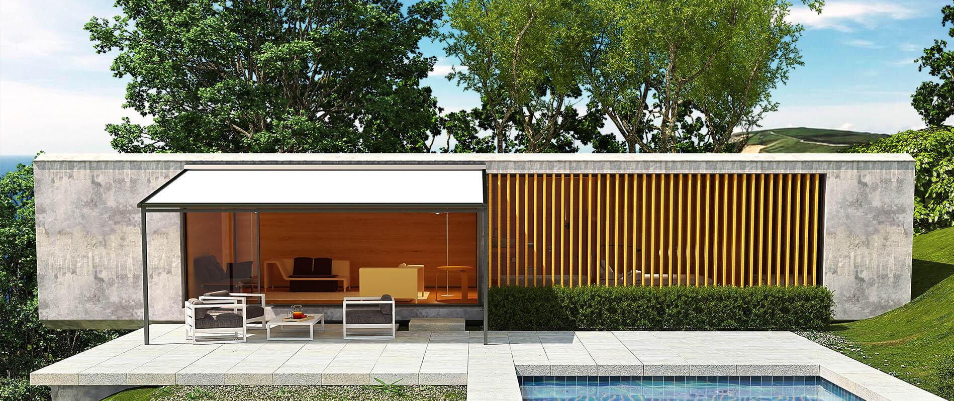 Pergola-Überdachung auf Terrasse neben Pool